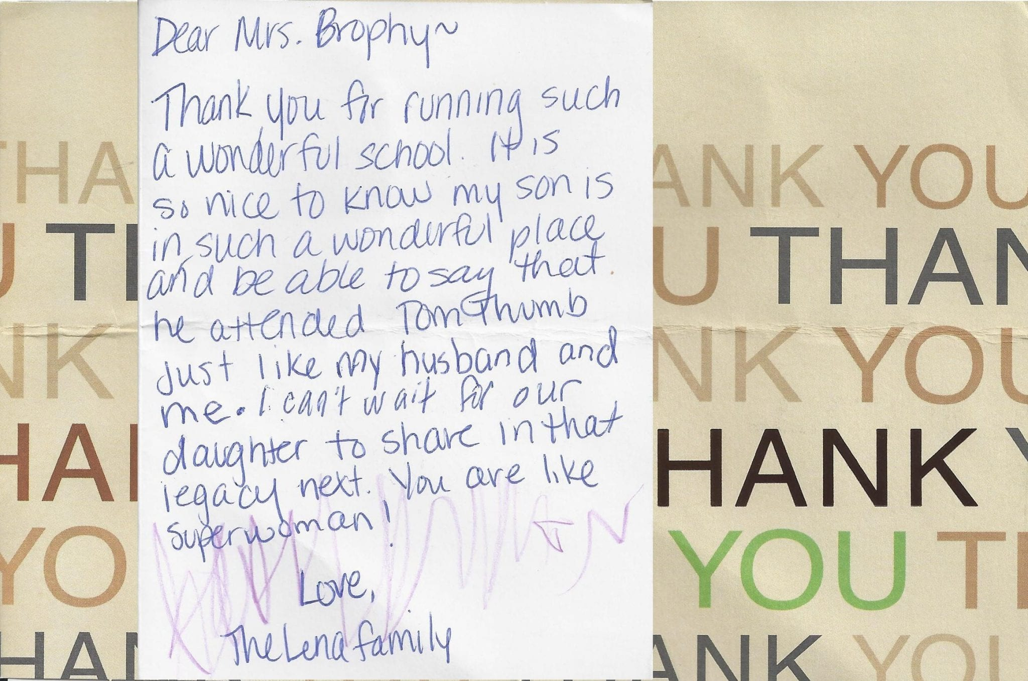 Tom Thumb Alumni Thank You Note