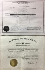 New York State Department of Education license and New York Office of Children and Family Services License