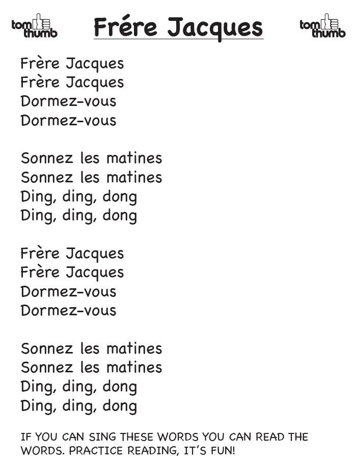 lyrics o frere-jacques song