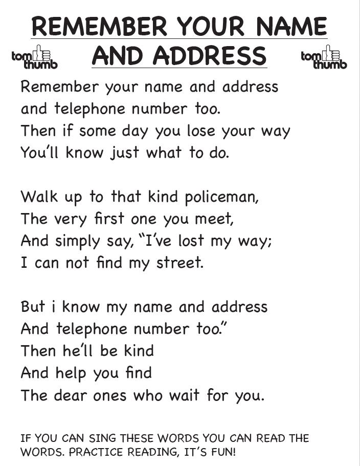remember your name & address home activity