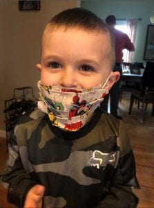 jaxson wearing his mask