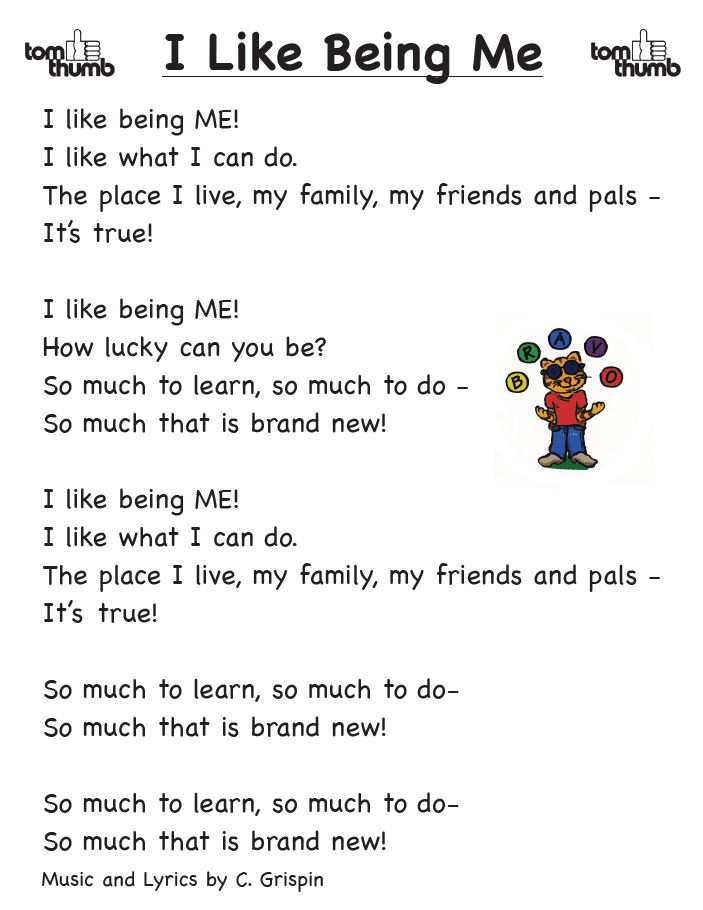 lyrics to I like Being Me song