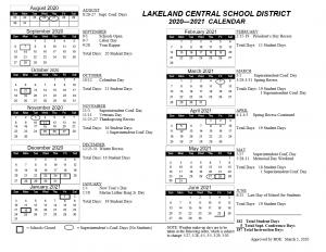 lakeland school district 2020 calendaR