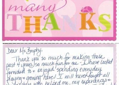 thank you note to tom thumb preschool
