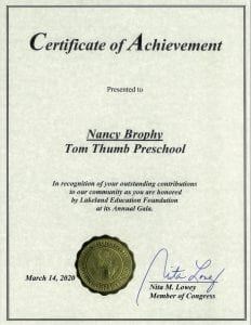 US House of Representatives Certificate of Achievement to Tom Thumb Preschool